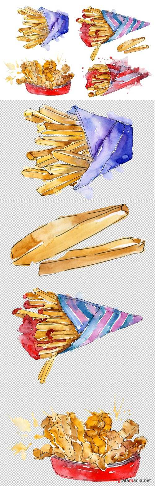 French fries Watercolor png - 3464202
