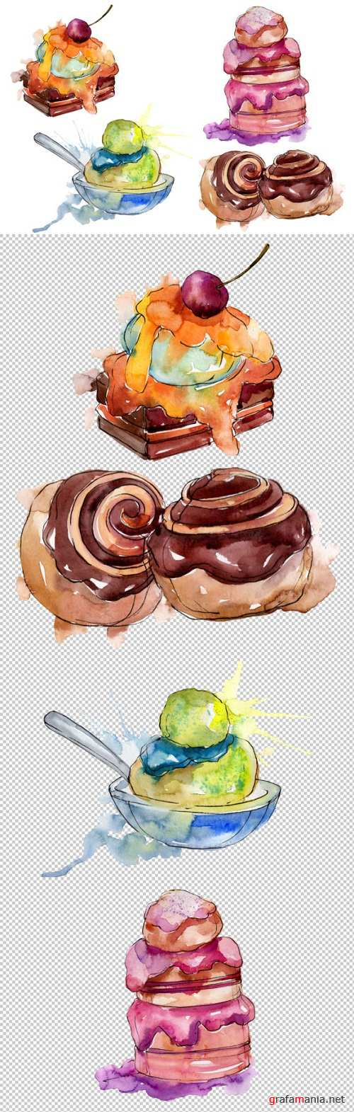 Dessert Appetizing Watercolor PNG