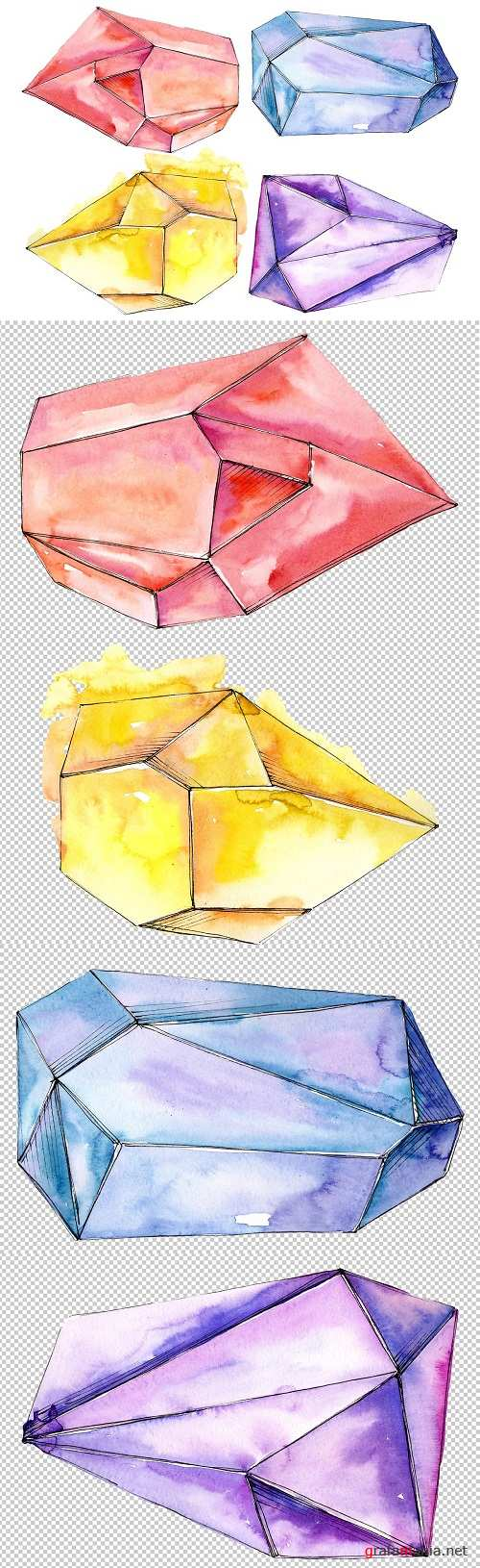 Сrystals red yellow blue Watercolor - 3473484