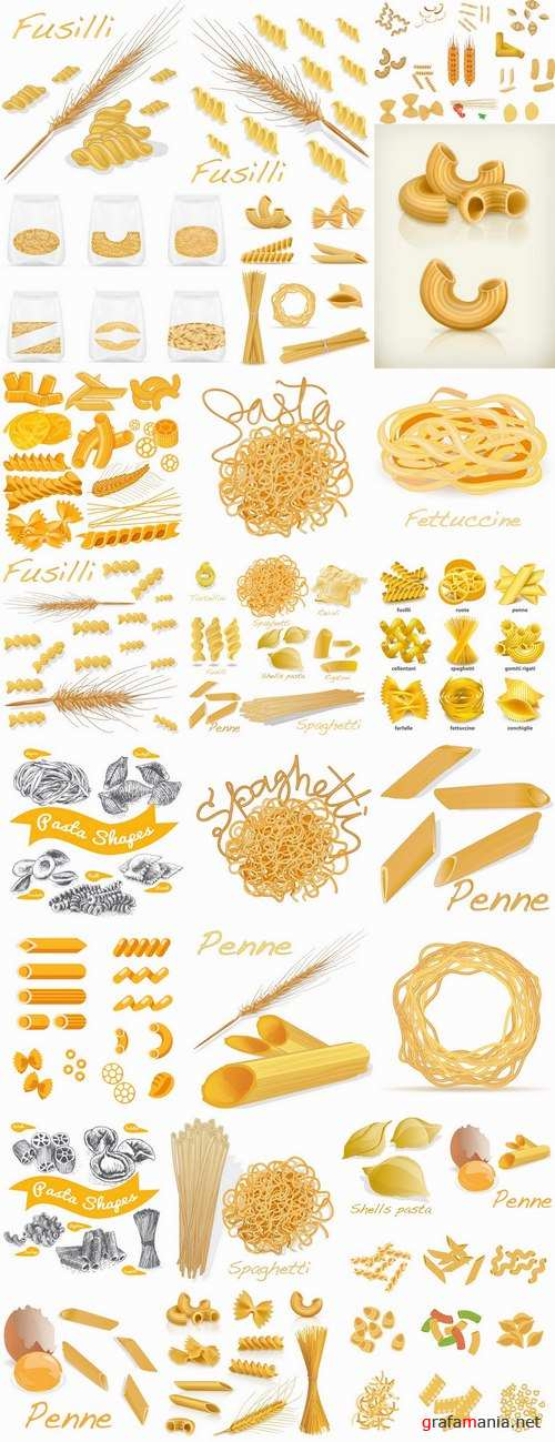 Pasta macaroni spaghetti flour products a vector Image 25 EPS