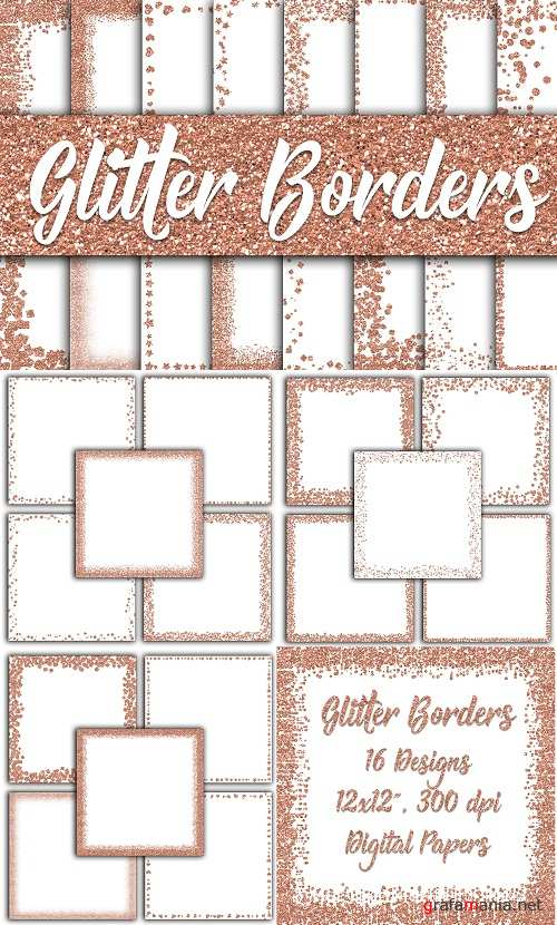 Rose Gold Glitter Borders Digital Paper - 39645