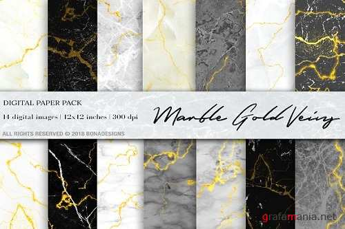 Marble Gold Veins Digital Paper 2581144