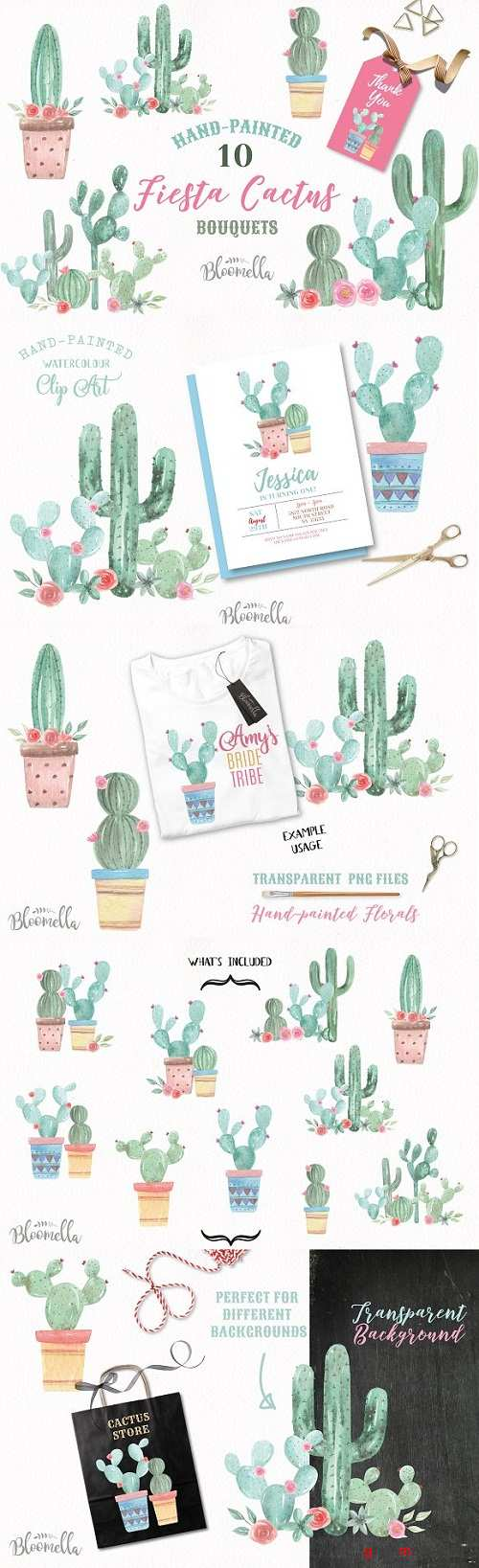 Cactus Watercolor Painted Clipart - 3087354