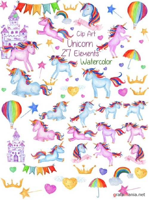 Watercolour Unicorns Clip Art 1151857