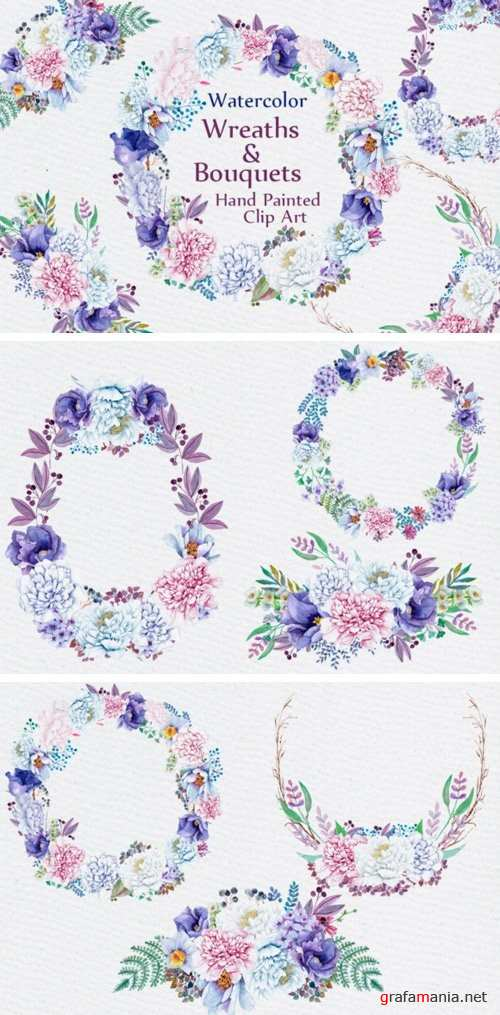 Watercolor wreaths and bouquets - 756064