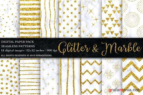 Gold Glitter Marble Digital Paper - 2272514