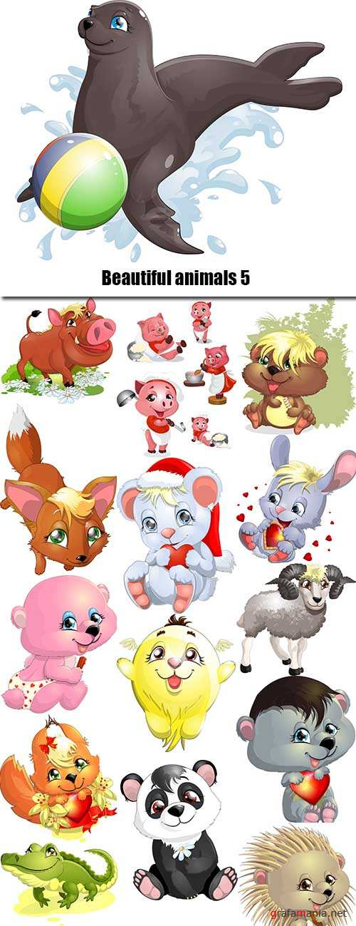 Beautiful animals in vector set from stock #5 - 25 Eps