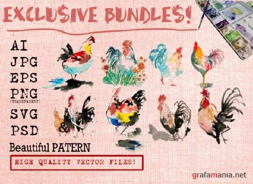 Rooster Watercolor Set