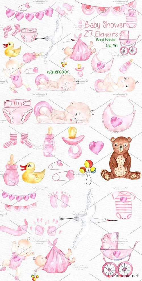 Watercolor baby shower girl clipart - 638490