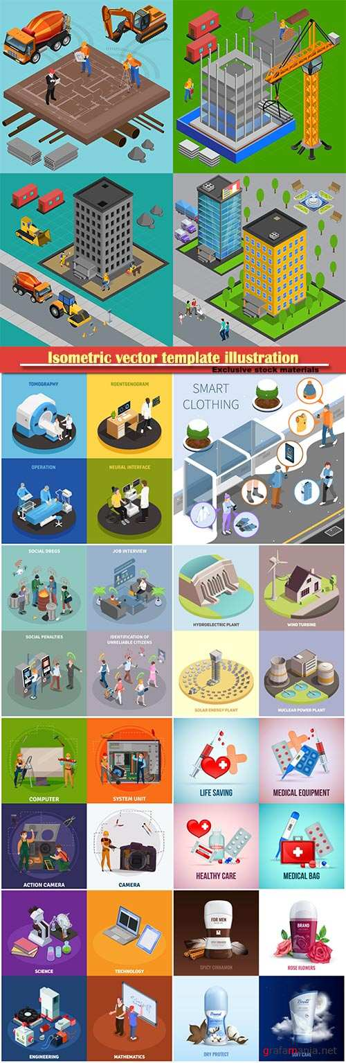 Isometric vector template illustration # 39