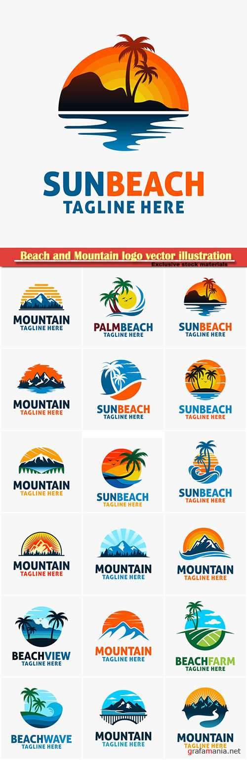 Beach and Mountain logo vector illustration