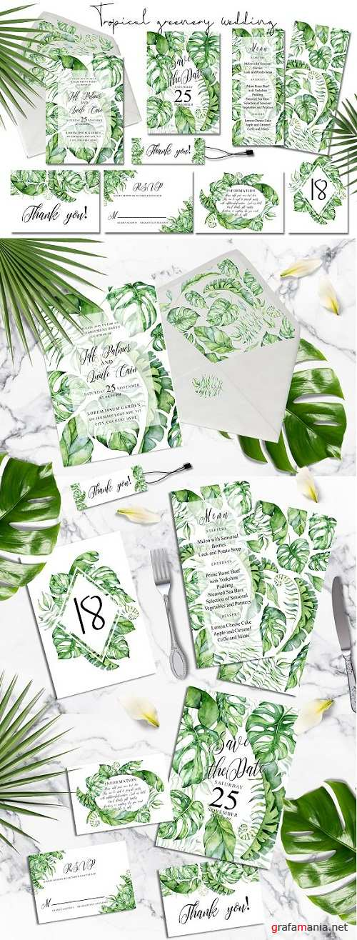 Tropical Greenery Wedding Suit - 3499110