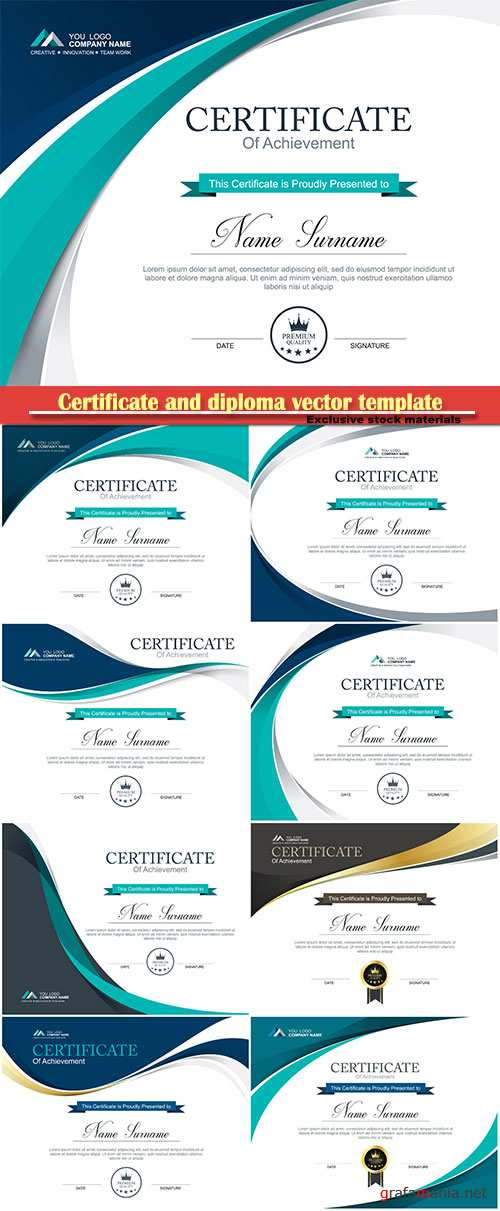 Certificate and diploma vector template