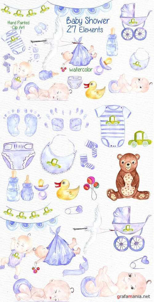 Watercolor boy baby shower clipart - 638473