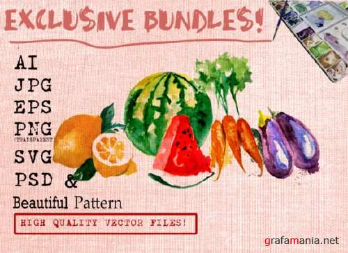 FRUITS AND VEGETABLES WATERCOLORS SET