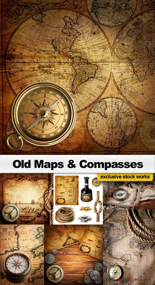 Old Maps & Compasses - 25x JPEGs
