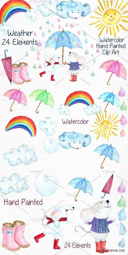 Watercolor weather clipart - 638504