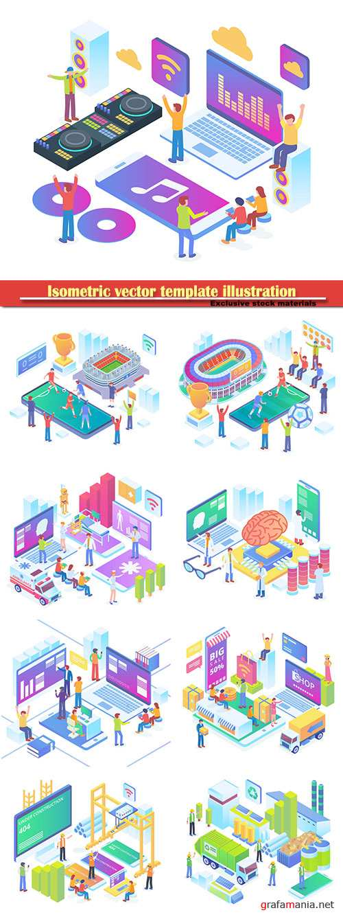 Isometric vector template illustration # 45