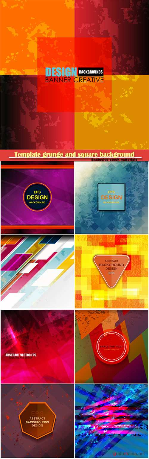 Template grunge and square background vector design