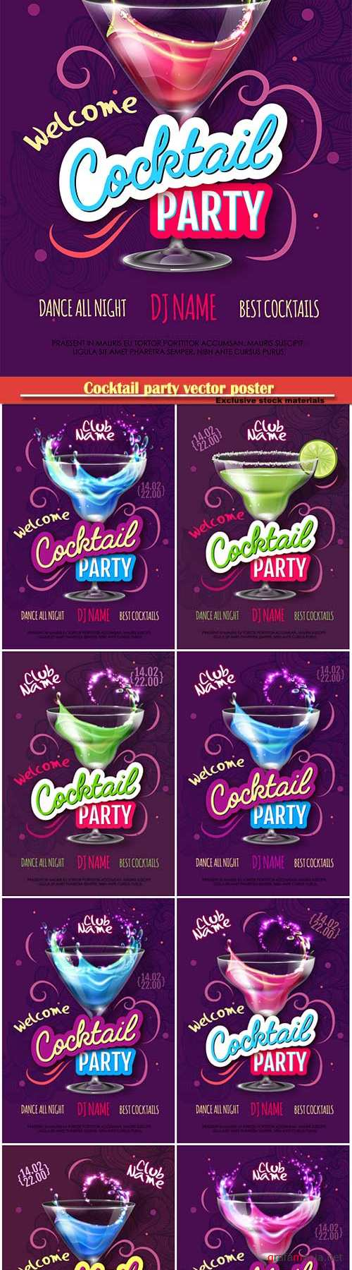 Cocktail party vector poster in eclectic modern style, Valentine's Day