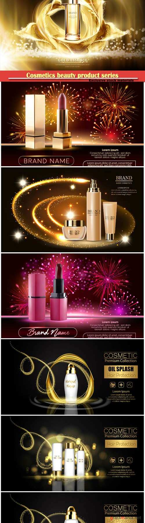 Cosmetics beauty product series, presentation banners mockup, vector illustration