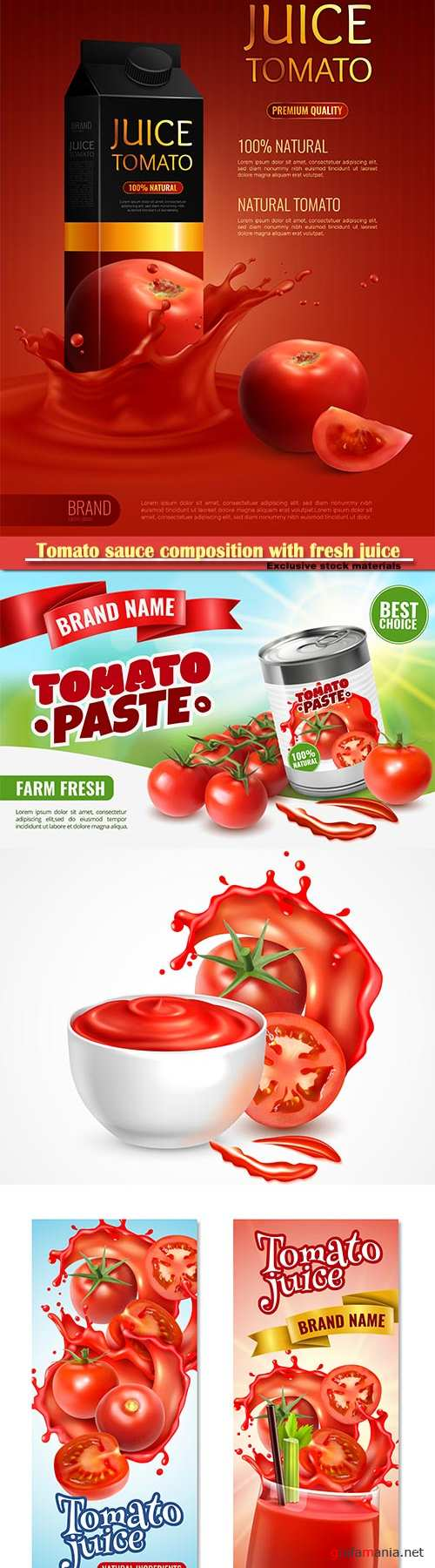 Tomato sauce composition with fresh juice vector illustration