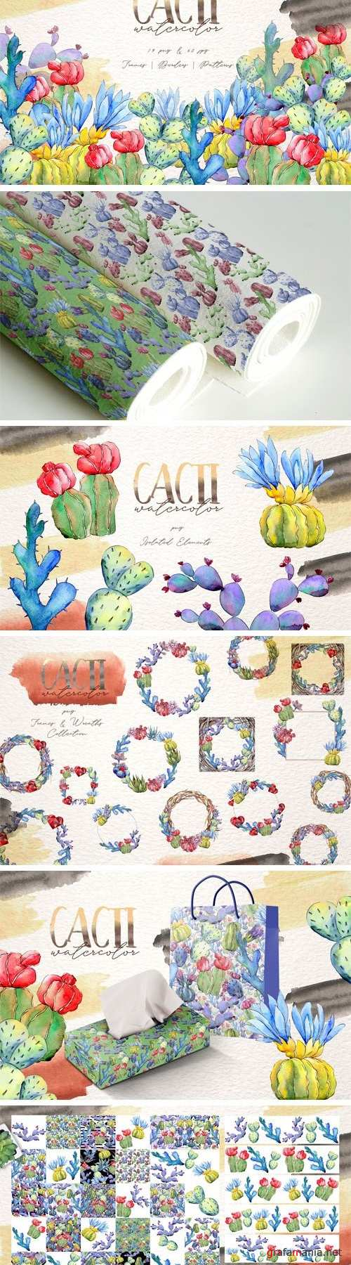 Cool colorful cacti PNG watercolor - 3087941