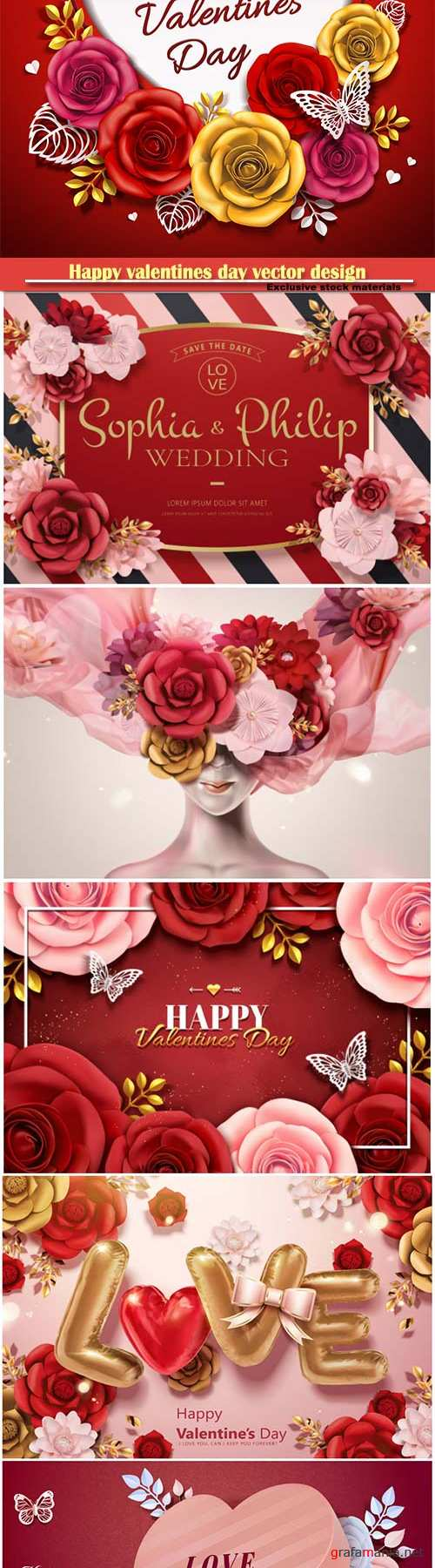 Happy valentines day vector design with heart, balloons, roses in 3d illustration