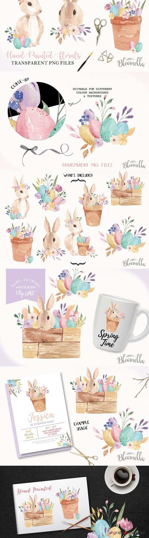 Easter Bunny Pastel Eggs Clipart Kit - 3376745