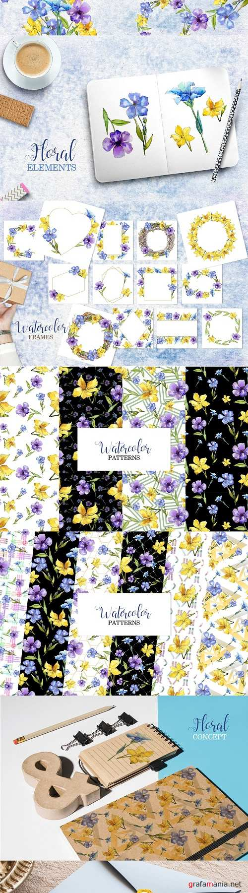 Flax Blue-yellow fowers Watercolor - 3467664