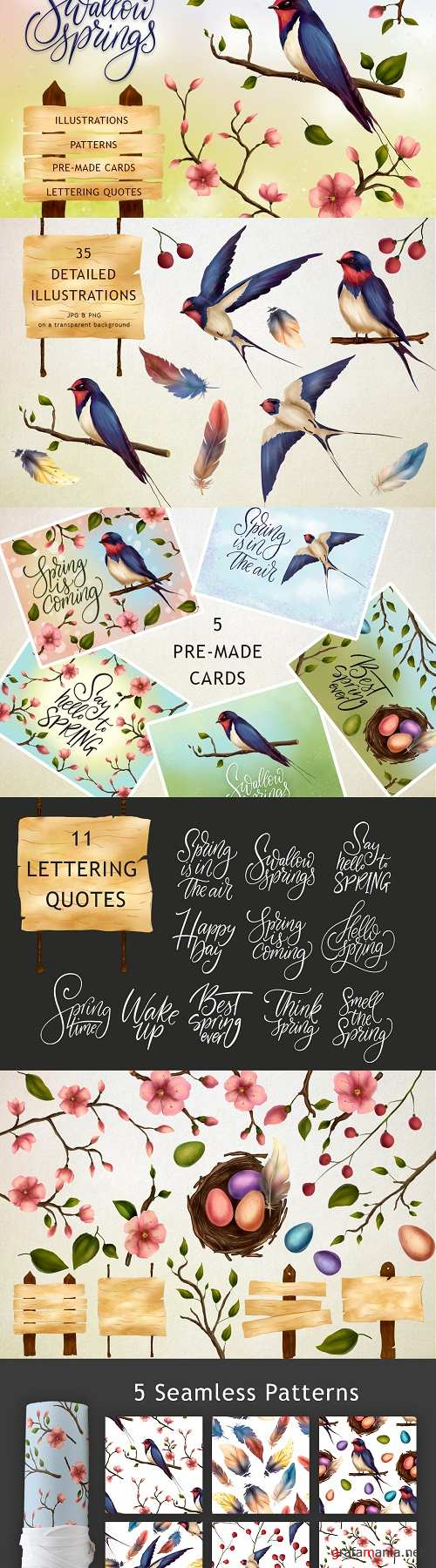 Swallow springs. Gentle graphic set - 3471724