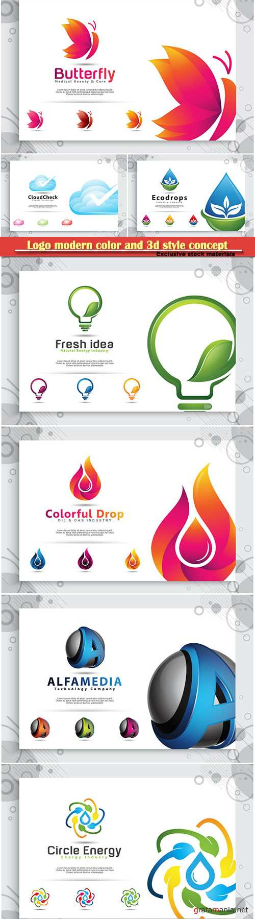 Logo modern color and 3d style concept, business and company identity # 2