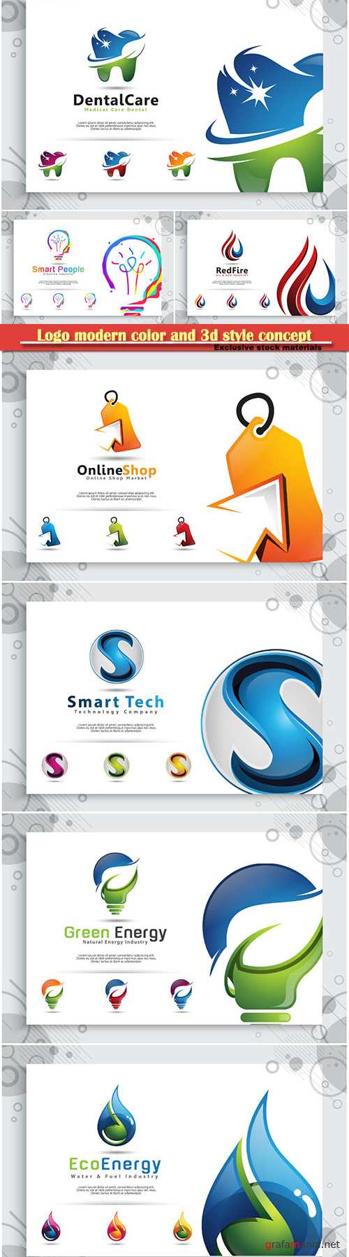 Logo modern color and 3d style concept, business and company identity