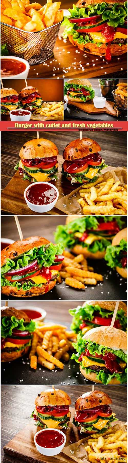 Burger with cutlet fresh vegetables and sauce