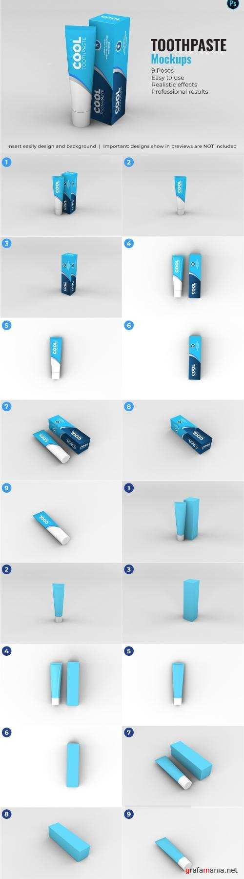 Toothpaste Mockups - 9 Poses - 3340924
