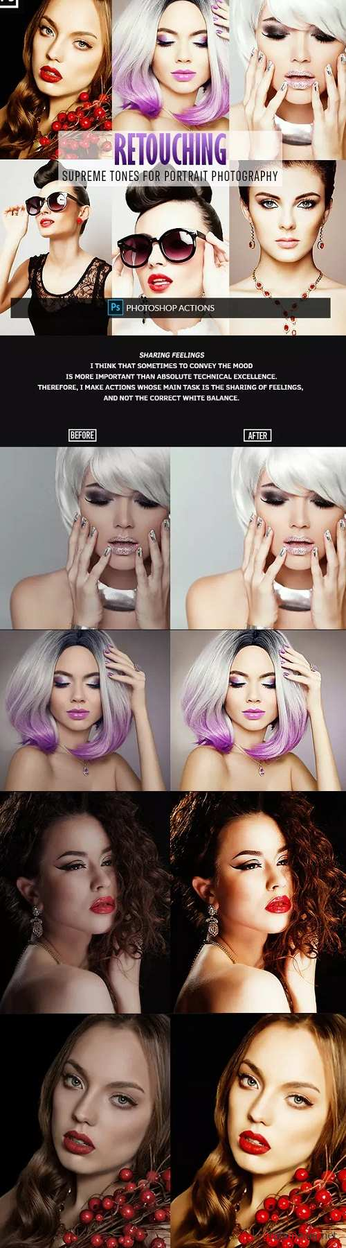 Retouching One Click Photoshop Action 23152811