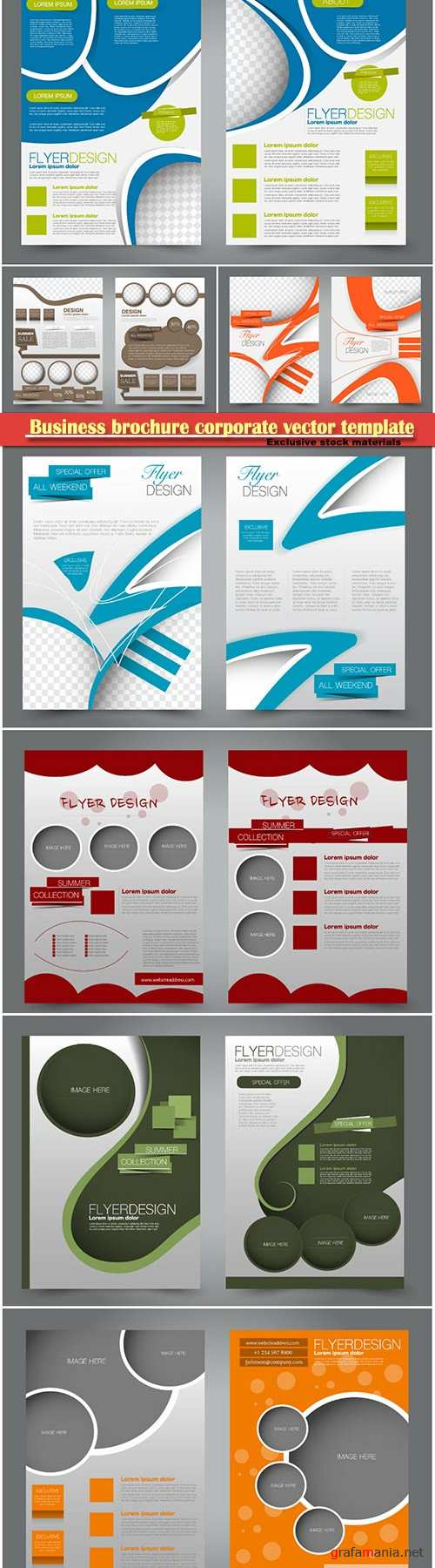 Business brochure corporate vector template, magazine flyer mockup # 28