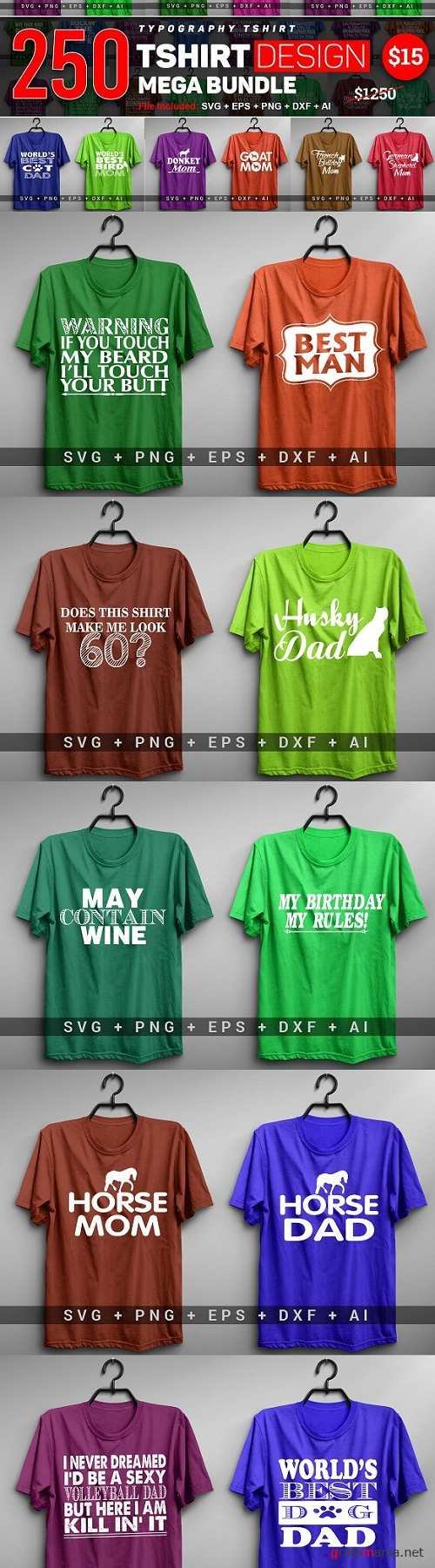 250 Funny T-shirt Typography - 3423426