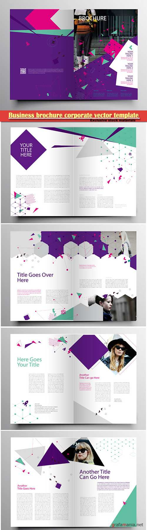 Business brochure corporate vector template, magazine flyer mockup # 33