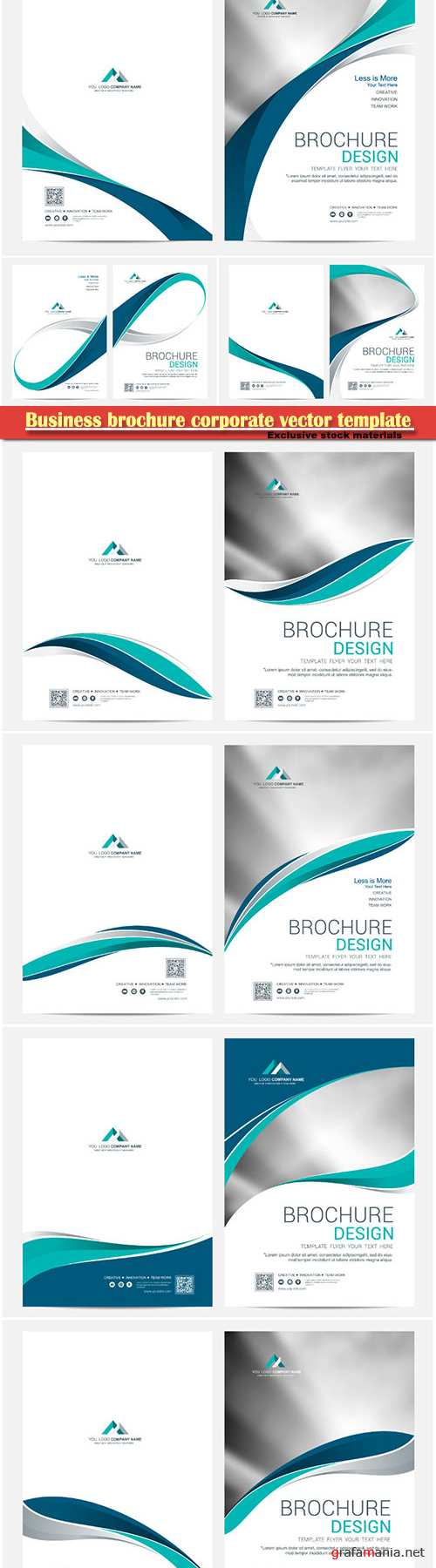Business brochure corporate vector template, magazine flyer mockup # 35
