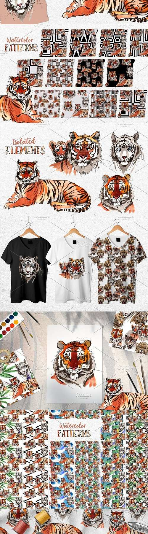 Animals: Tigers Watercolor png - 3502650