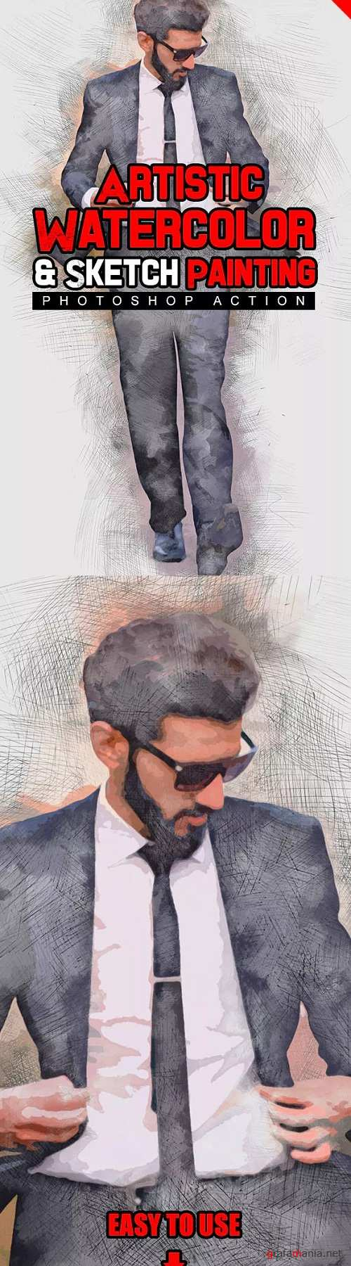 Artistic Watercolor & Sketch Painting Photoshop Action 23175935