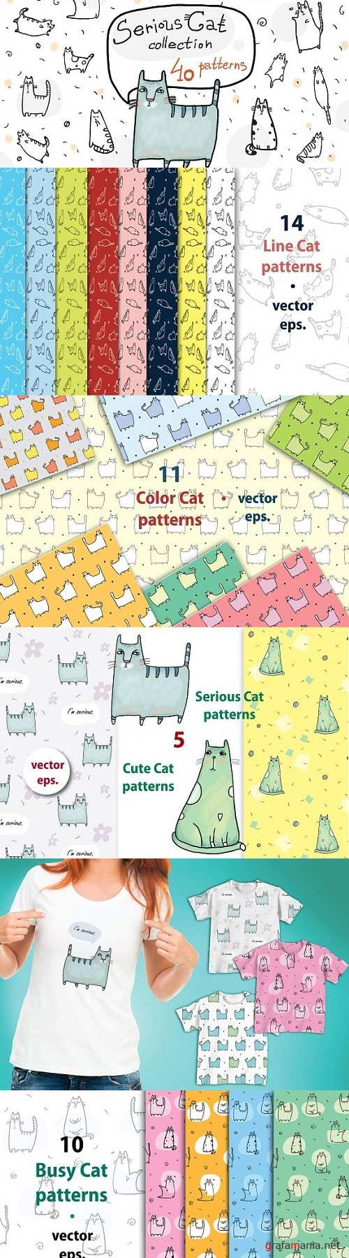 Serious Cat Collection - 40 patterns - 1574978