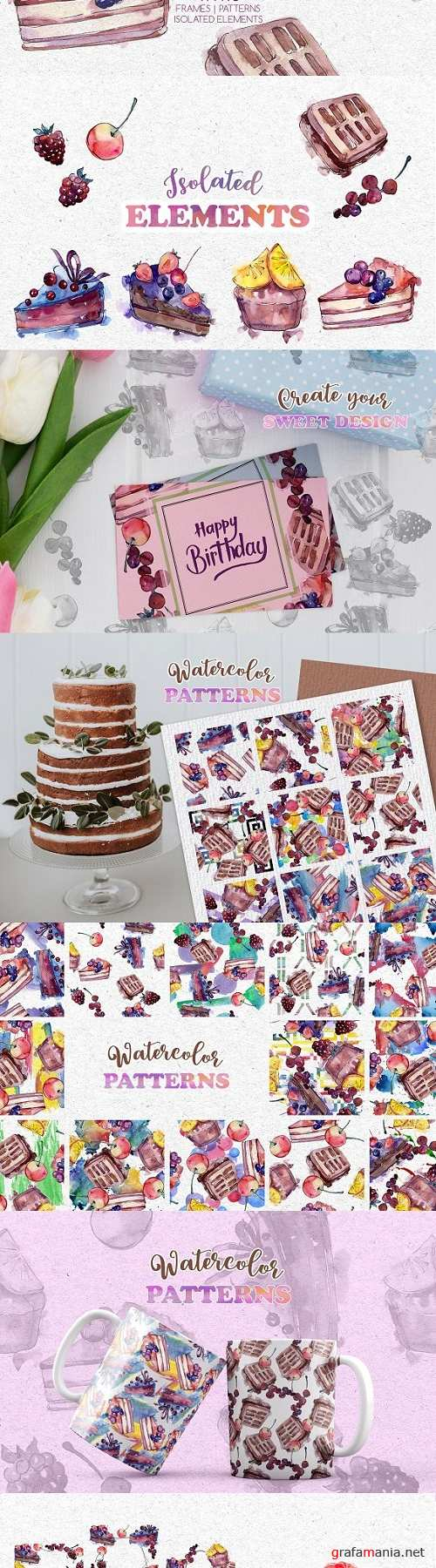 Tasty cakes Watercolor png - 3522468