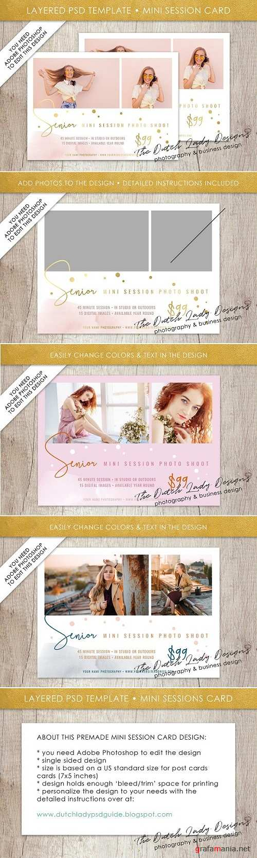PSD Photo Session Card Template #32 - 3528073