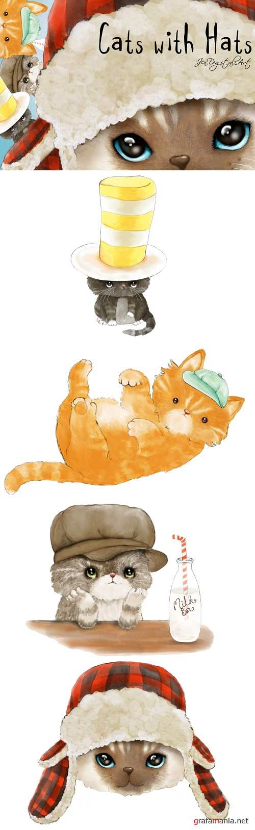 Cats with Hats Clip Art Illustrations - 184989