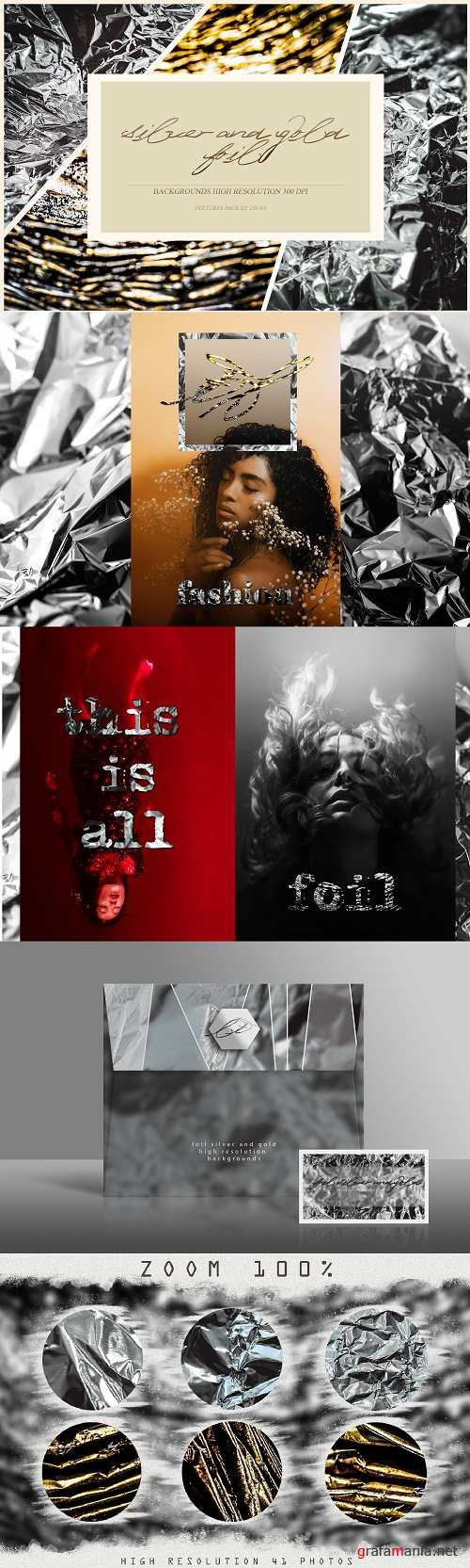 41 Foil Silver and Gold backgrounds textures overlays - 224444