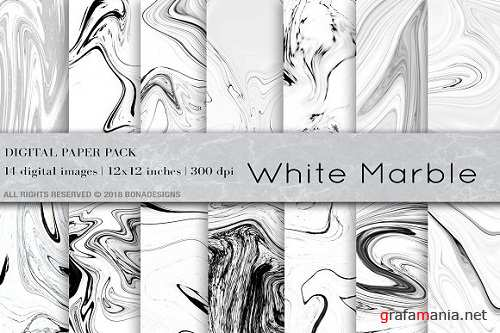 White Marble Background Digital Paper - 2404975