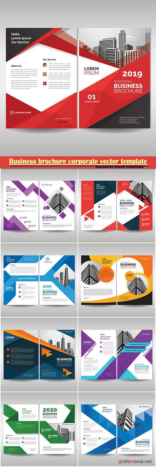 Business brochure corporate vector template, magazine flyer mockup # 43