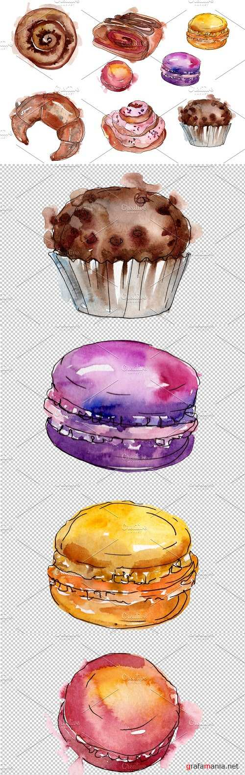 Dessert Provence Watercolor png - 3567660